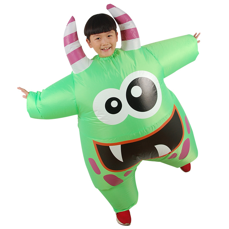 Kids Inflatable Costume Cartoon Green Monster with Horns One Size Carnival Birthday Party Blow Up Fancy Dress OutfitKids Inflatable Costume Cartoon Green Monster with Horns One Size Carnival Birthday Party Blow Up Fancy Dress Outfit