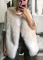 Fur Coat Faux V neck Jacket Vest Faux Coat Special Offer 2018 New Women's Shoulder Vertical Long Imitation Fox Female