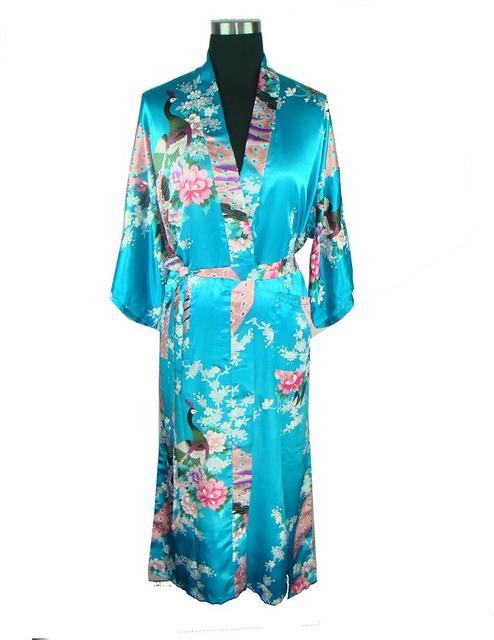 Summer Blue Sexy Lady Silk Rayon Robe Dress Chinese Style Printed Nightgown Vintage Kimono Yukata Bath Gown One Size A113