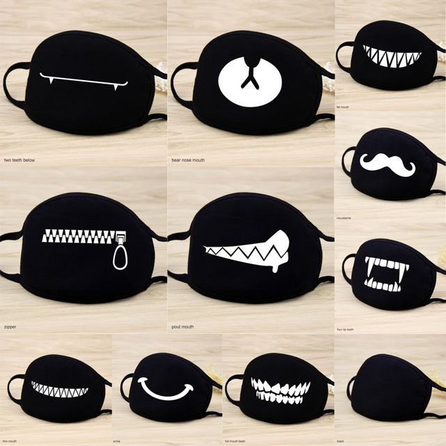 1 Pcs Cotton Masks Keep Warm Cartoon Funny patten Face Mouth Mask Unisex banquet party Mouth Muffle Respirator black 12 Style
