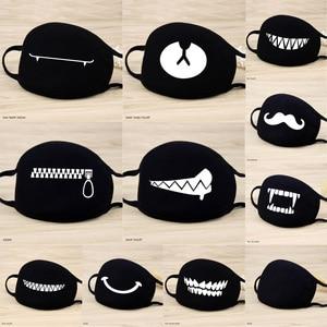 Image 1 - 1 Pcs Katoen Maskers Warm Houden Cartoon Grappige Patten Gezicht Mond Masker Unisex Banket Party Mond Moffel Respirator Zwart 12 stijl