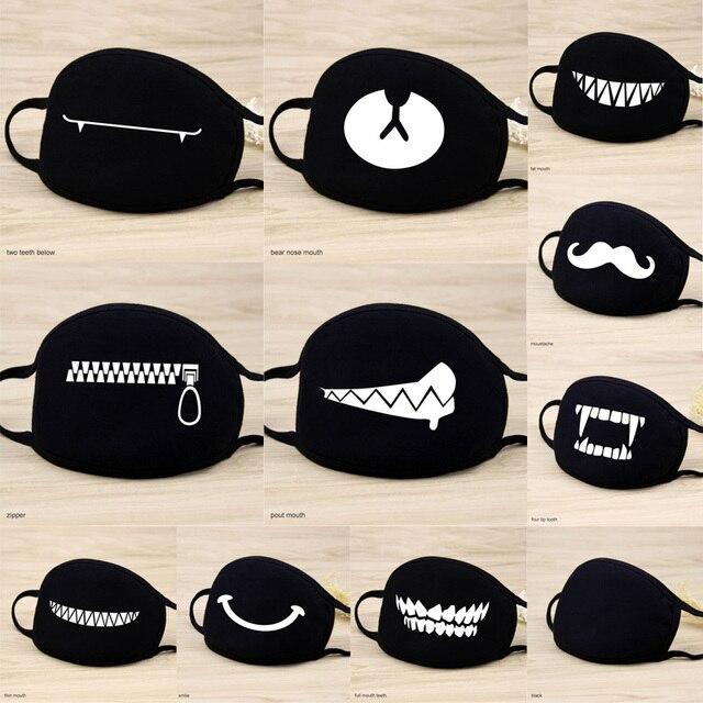 1 Pcs Katoen Maskers Warm Houden Cartoon Grappige Patten Gezicht Mond Masker Unisex Banket Party Mond Moffel Respirator Zwart 12 stijl