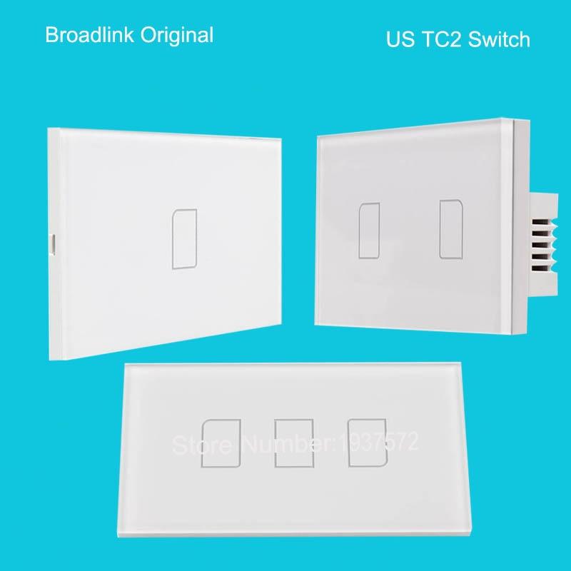d20696949911 2016 Nuevo broadlink US TC2 1 Gang + 2 + 3 Gang Casas inteligentes  inalámbrico de automatización Control remoto 433 Mhz wifi interruptor del  tacto ligero de ...