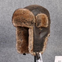 Men Fur Leather Hat for Winter Imitation Leather Fur Hat with Pom Ear Protect Bomber Hats Russian Ushanka Cap Leifeng Hat B 8431