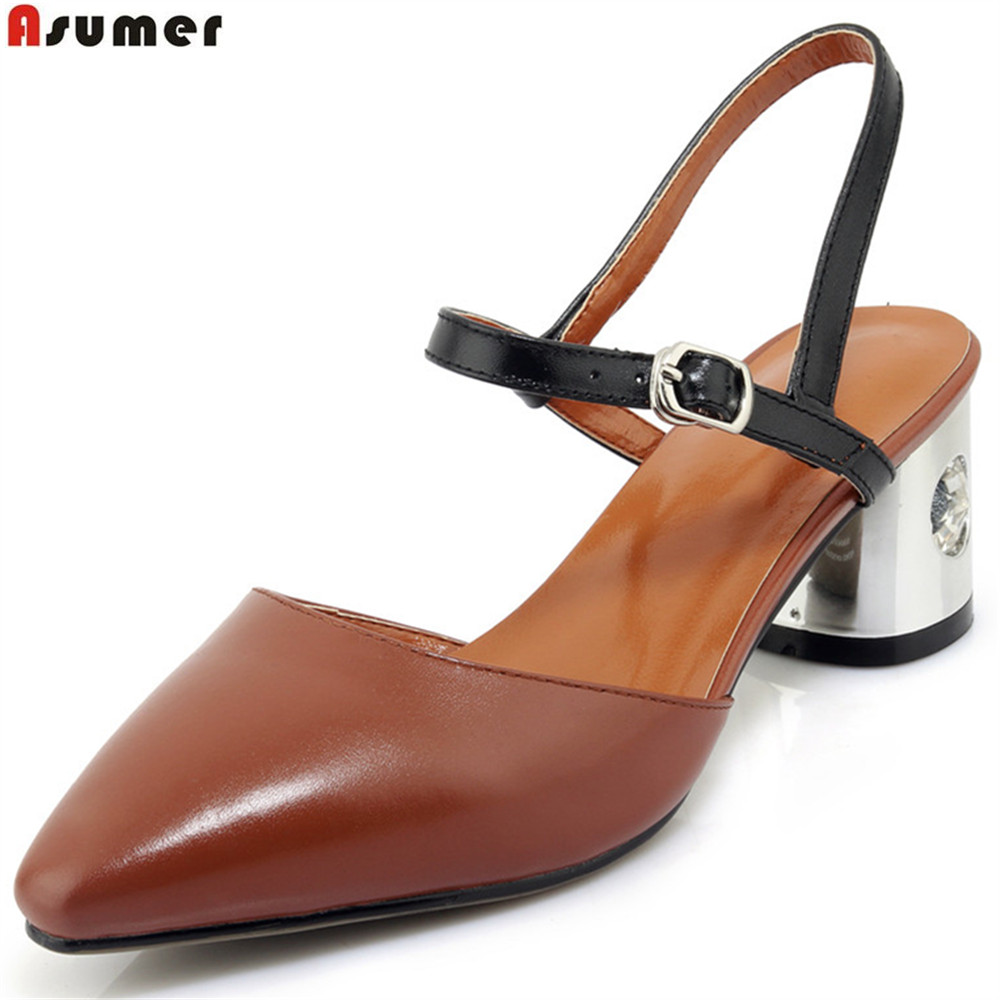 ASUMER brown fashion ladies single shoes spring autumn new 2018 buckle casual women genuine leather high heels shoes asumer 2018 fashion apring autumn new