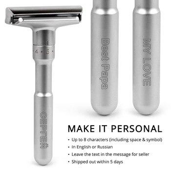 Adjustable Safety Razor Qshave Mens Shaving Double Edge Classic Safety Razor Blade Exposure Six Levels 1 handle & 5 blades 2