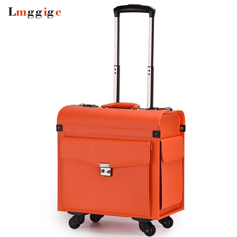 Rolling Cabin Luggage Flight Attendants Travel Suitcases Commercial Computer Bag Password Box Pu Carry On With Universal Wheels
