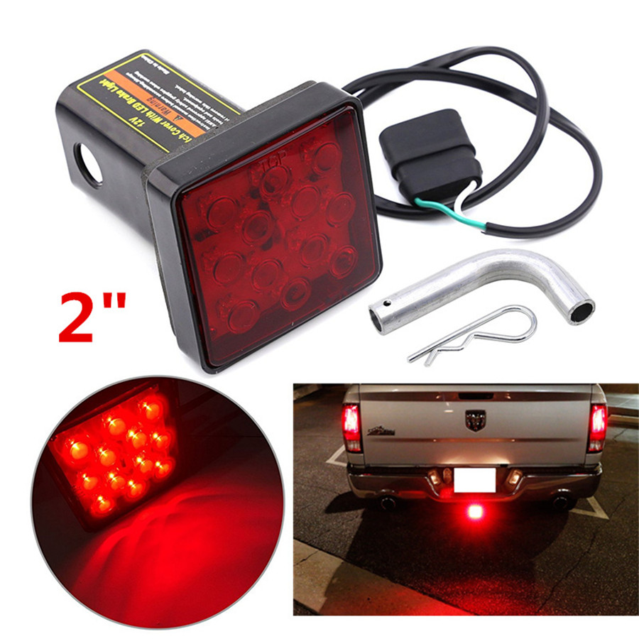 12V Car Truck Trailer Hitch Super Bright 12-LED Tail Brake Fog Light Red  Square Trailer taillight