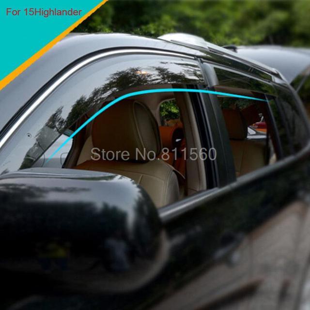 Para Toyota Highlander 2014 2015 ABS Plástico De La Puerta Del Sol Visor Deflector Lluvia Guardia Protector Recorta Accesorios De Autopartes 4 unids
