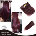 Peruvian Virgin Hair Straight 99J Peruvian Hair 4 Bundles Straight Virgin Hair Grade 7A Burgundy Red Human Hair With Closure