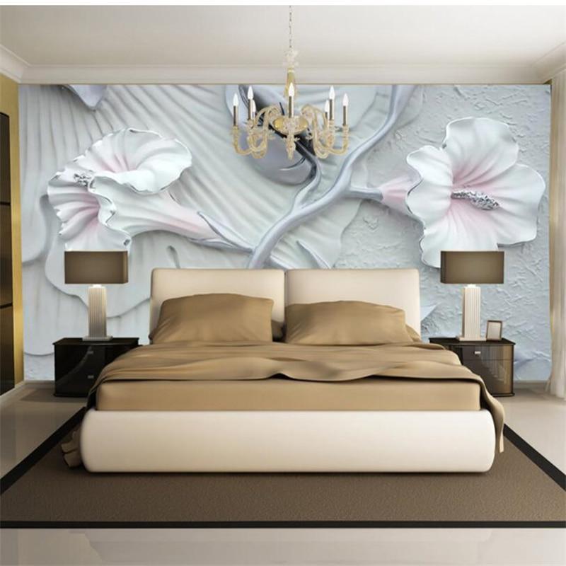 Beibehang Lírio Alívio papel de parede para quarto papel de parede Personalizado pano de Fundo Floral de Parede papéis de parede decoração casa behang tapety
