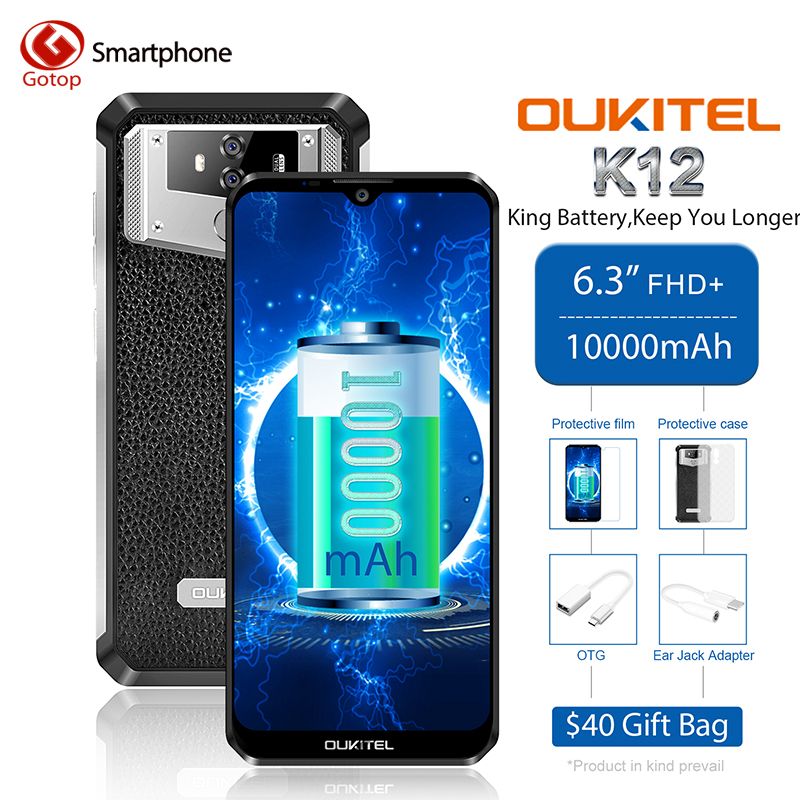 Global Version Oukitel K12 Android 9.0 Octa Core Mobile Phone 6.3' 16MP Camera 1000mAh Battery 6GB RAM 64GB ROM 4G Smartphone