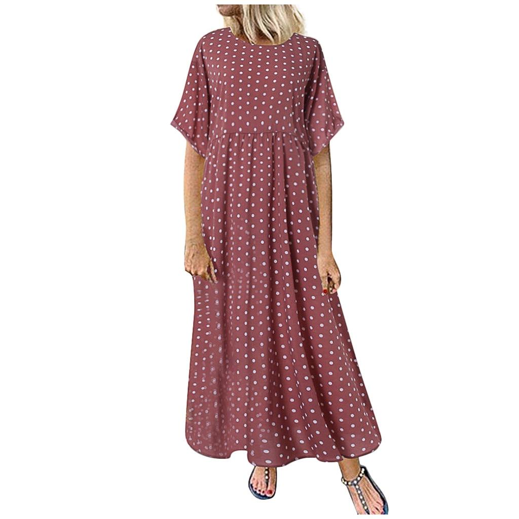 HTB14uI0Xp67gK0jSZPfq6yhhFXaE Summer Style New Women Dress Plus Size Fashion Women O-Neck Short Sleeve Dot Peinted Casual Dress vestidos mujer