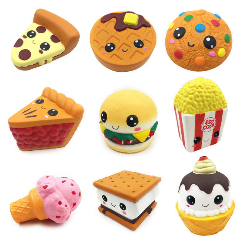 2018 Kawaii Squishy Jumbo Ice Cream Hamburger Cake Popcorn Biscuit Cookie Pizza Squeeze Slow Rising Scented Antistress Toys Drop