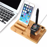 Cell Phone Charger Dock With Watch Bamboo Holder Desk Wood Charging Stand For Apple Watch 38