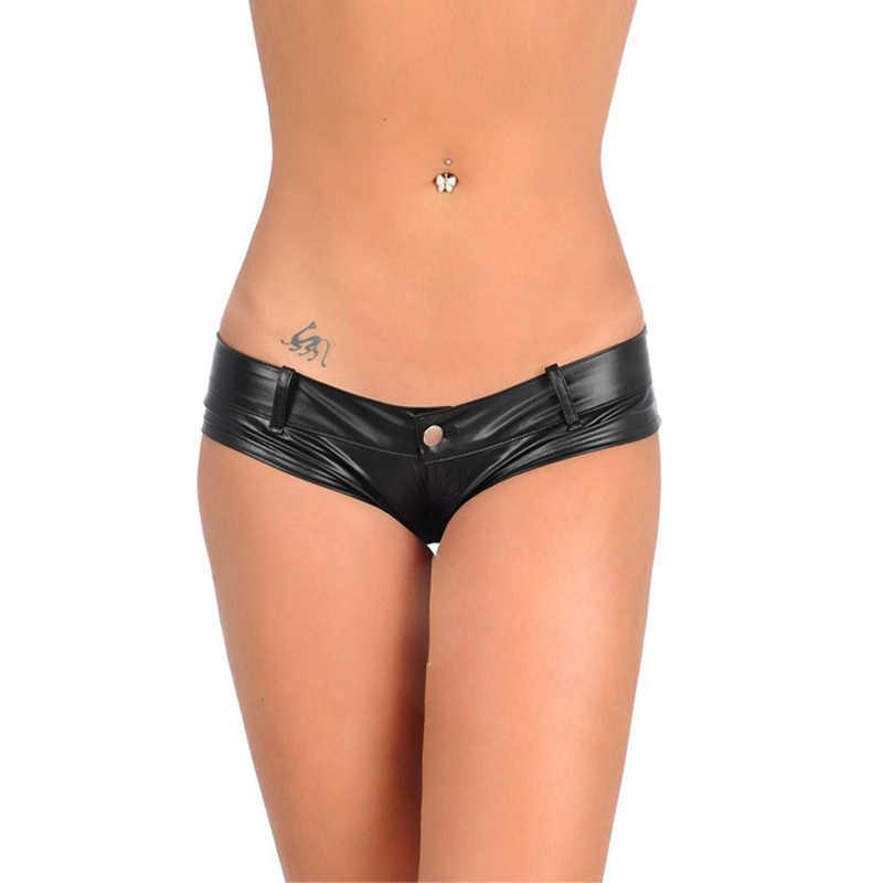 Sexy Faux Leather PU shorts women Stretch Low Waist Black Denim Shorts Summer beach Night club Coating Mini Shorts 2018 new