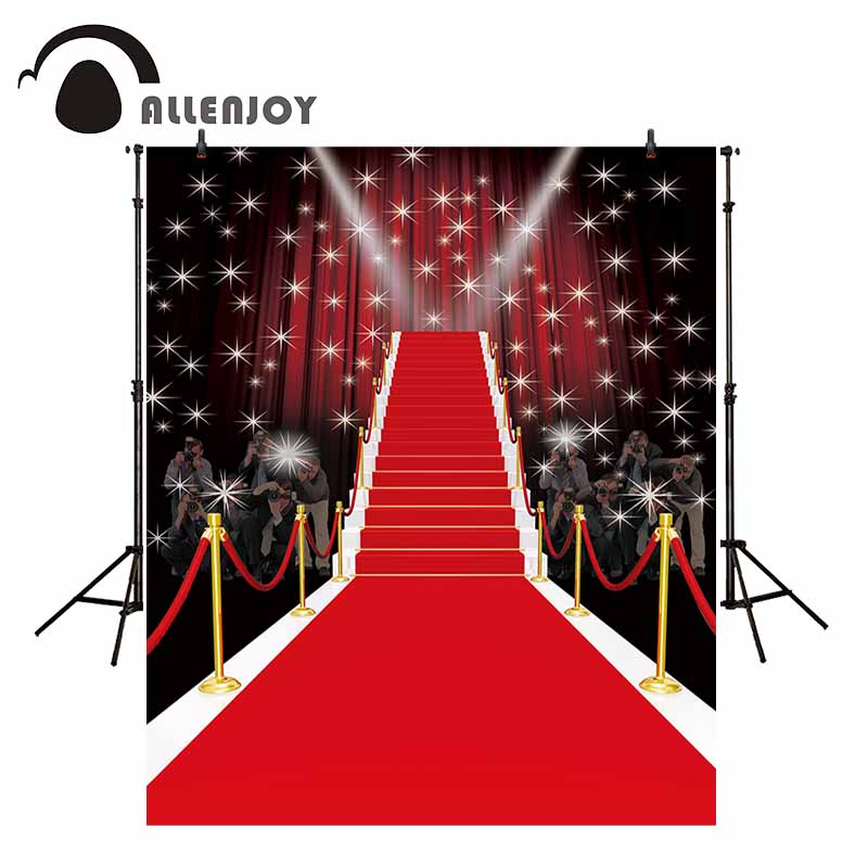 Allenjoy red carpet Photography Backdrop paparazz shiny stars fashion Tees dazzling background props photocall photobooth studio