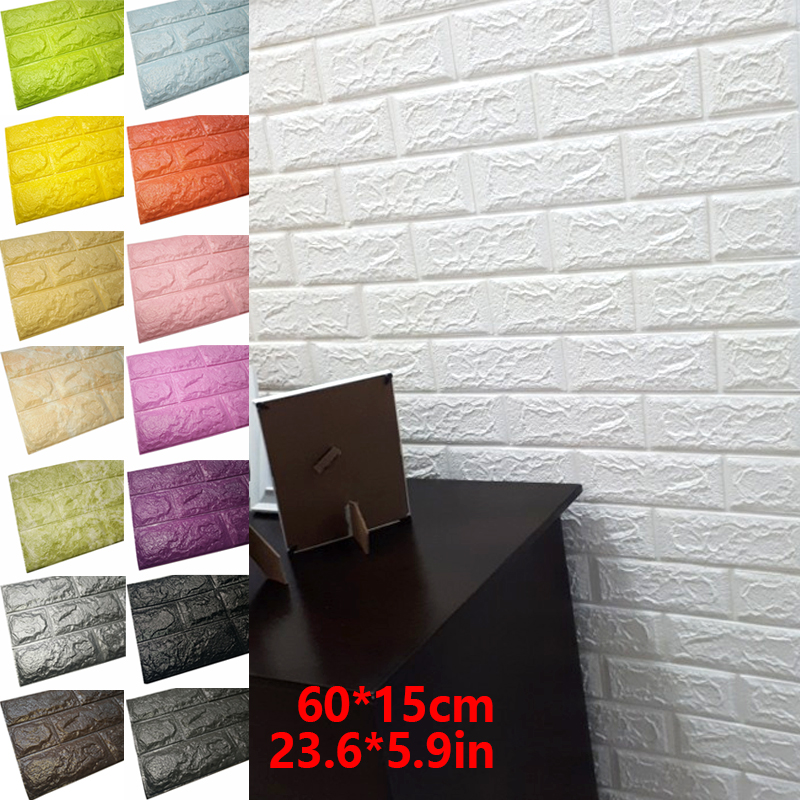 Hot Sale PE Foam 3D Wallpaper DIY Wall Stickers Wall Decor Embossed Brick Stone Wallpaper Room House 60 X 15 Cm Poster