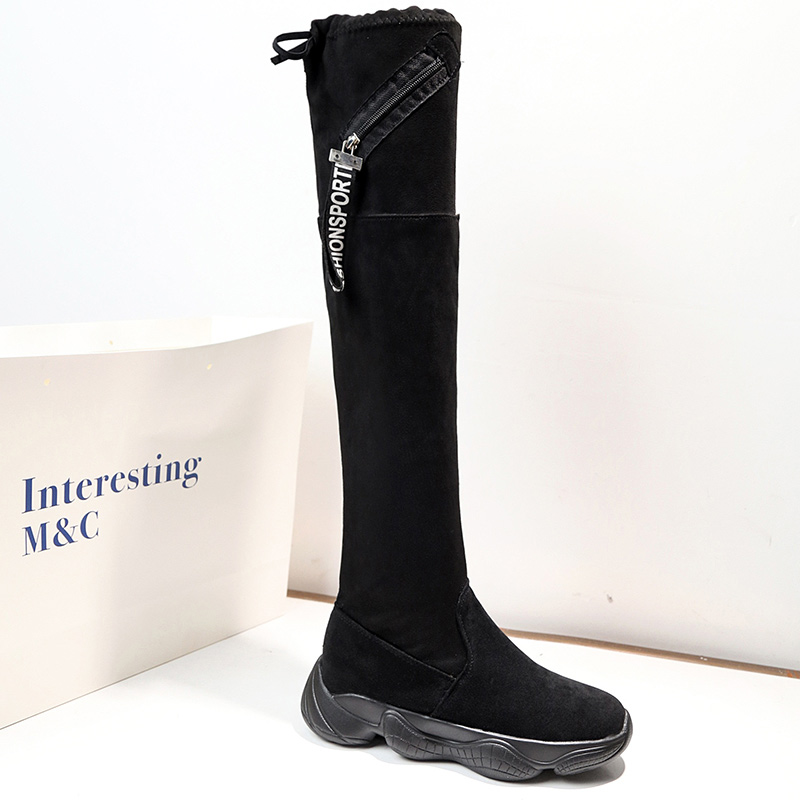 Women Boots Thigh High Over The Knee Boots Comfort Fall Winter Slip on Faux Suede Fashion Fur Shoes Woman Ladies Botas Mujer