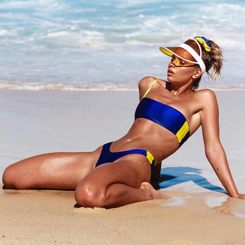 Bikini kostiumy kąpielowe Bikini 2019 Mujer Push Up strój kąpielowy kobiety stringi Bikini zestaw niebieski pomarańczowy stroje kąpielowe kobieta dwa kawałki kostium kąpielowy nowy