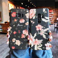Retro Rose Flower Floral Cases For Samsung S10 S7 S8 S9 Plus Note8 9 Plants Leaves Hard PC Matte Case For iphone 7 8 6 XS MAX XR