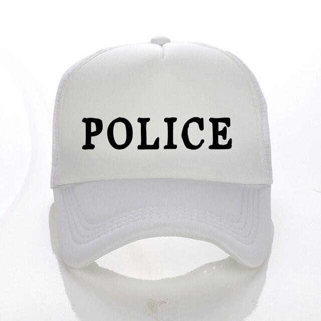 e5d99e8275d9d Nueva alta calidad policía FBI letter Print Trucker CAPS hombres mujeres  poliéster sombrero sombreros del SnapBack