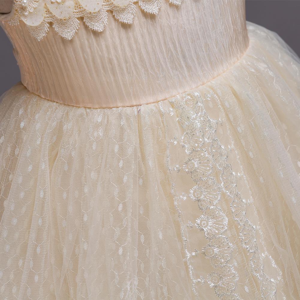 European Designer Vintage Sweet Childrens Promgirl Short Party Dress Beaded  Tulle White Pink Beige Lace Flower Girl Dress df25c32f3fbb