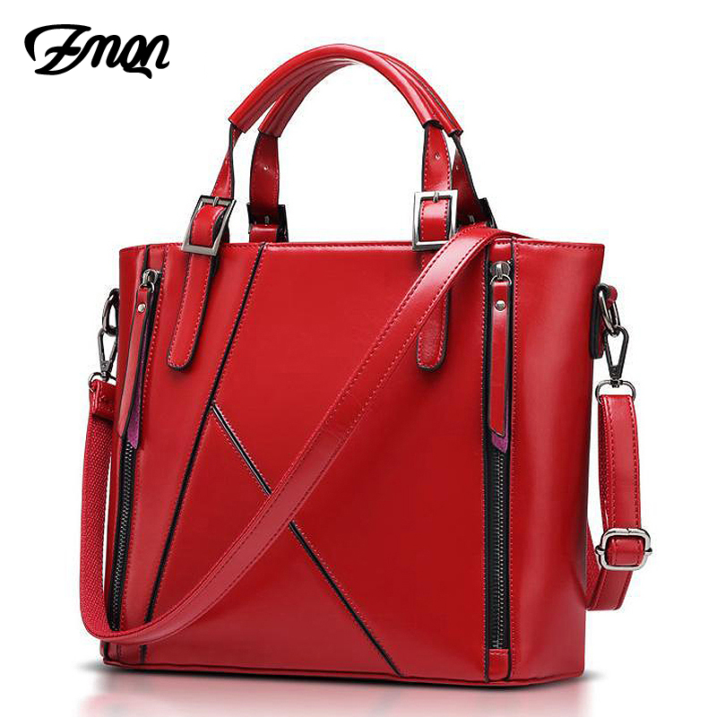 ZMQN Women Handbag Of Famous Brand Designer Bags Handbag High Quality Stitching Bucket Red Shoulder Bag Bolsa Feminina 2018 A808