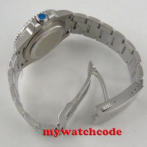 Image 5 - 40Mm Parnis Mechanische Horloges Zwart Rood Keramische Bezel Zwarte Wijzerplaat Gmt Saffierglas Automatische Herenhorloge Relogio Masculino