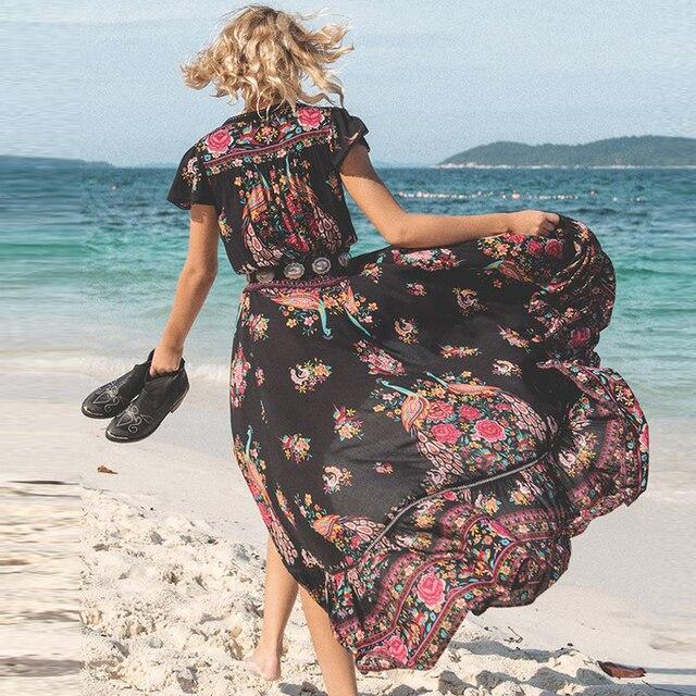 Summer Beach Maxi Dress Sexy V Neck Print Long Dresses 1