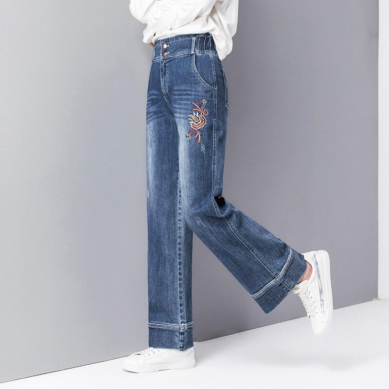 9dc5d5043c 2019 Primavera Algodón Verano Lavado Cintura Mujer Vaqueros Tamaño Azul  Elástico De Alta Rectos Pantalones Para ...