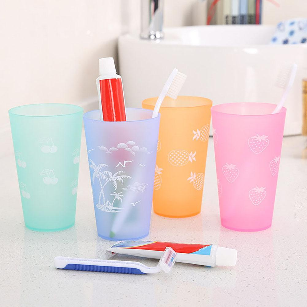 Multifunctional Practical Plastic Tooth Brushing Wash Water Tea Cup Drinkware Bathroom Tumbler Accessories Candy Color Brush Cup