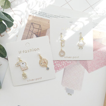 Women Cartoon Alice Rabbit Clock Anti-allergy Asymmetry Drop dangle Earrings Korea Handmade Fashion Jewelry Holiday-JQD5