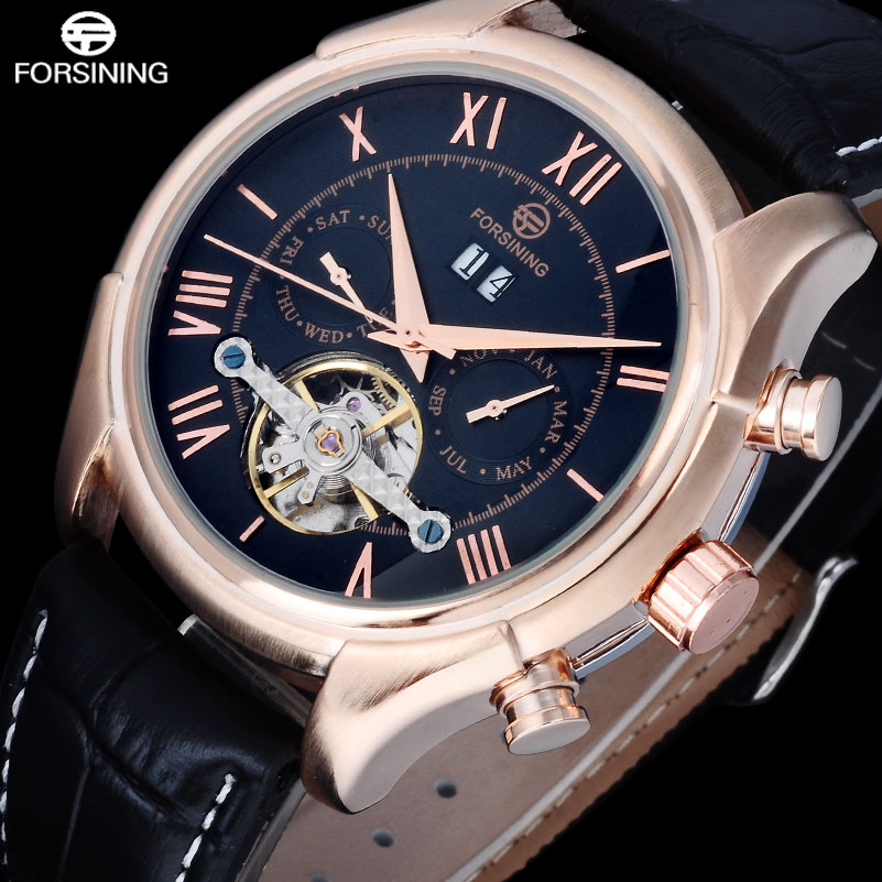 2017 FORSINING Fashion Casual Brand Watches Men Rose Gold Point Black Dial Watch Automatic Self Wind Clock Roman Numerals Clock forsining date month display rose golden case mens watches top brand luxury automatic watch clock men casual fashion clock watch