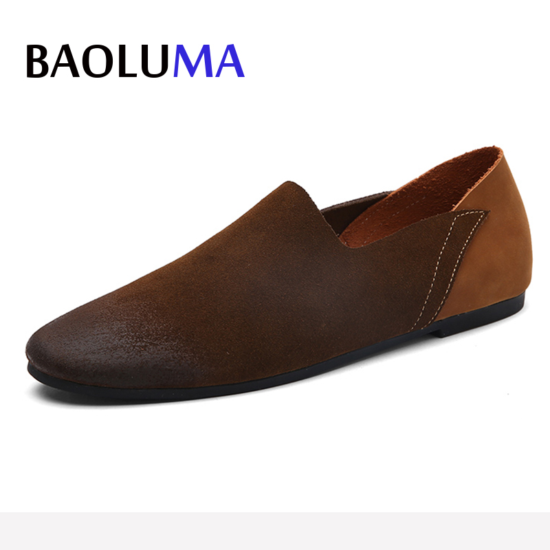 2018 New Italy Men's Genuine Leather Suede Loafers Shoes Men Oxford Flats Summer Comfortable Handmade Moccasins Men Shoes 47 2017 flats new arrival autumn winter casual men genuine leather loafers comfortable light driving shoes handmade moccasins shoes