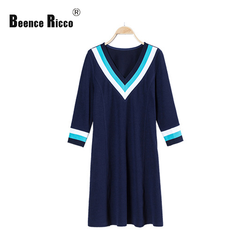 2017 spring new plus size 5XL dress women knitted long sleeve V-neck striped blue casual dresses female elegant clothing W120 plus size double pockets knitted dress