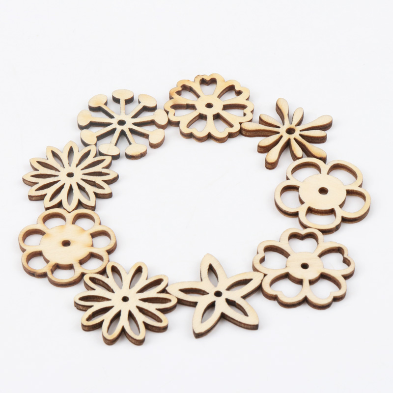 Natual Hollow Flower Pattern Wooden Scrapbooking Art Collection Craft For Handmade Accessory Sewing Home 30mm 20pcs MZ165