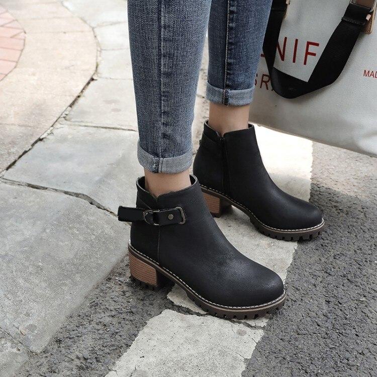 Grande taille 9 10 11 12 bottes femmes chaussures bottines pour femmes dames bottes chaussures femme hiver côté fermeture éclair avec fermoir en métal