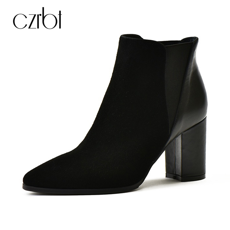 CZRBT Patchwork Ankle Boots Women Spring Autumn Cow Suede Leather Pointed Toe Black High Heel Boots Thick Heel Chelsea Boots нож с фиксированным клинком dobermann iv classic
