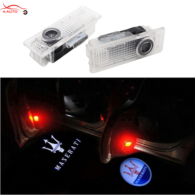 2 x Courtesy Car Door Light Ghost Shadow Projector Logo LED For Maserati Quattroporte Ghibli