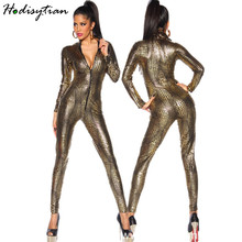 Hodisytian Women Sexy Skinny Bodysuits Lingerie Leather Jumpsuits Long Sleeve Bodycon Costume Snake Skin Open Crotch Female