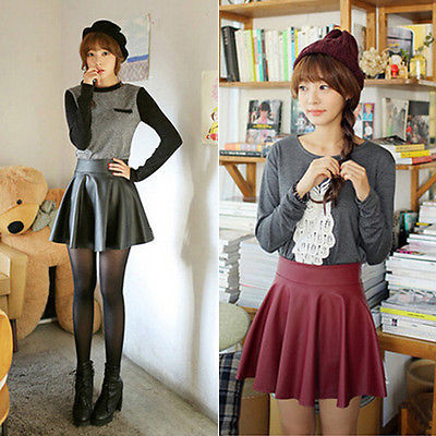New Fashion Ladies Faux Leather Short Pleated Skater Skirt