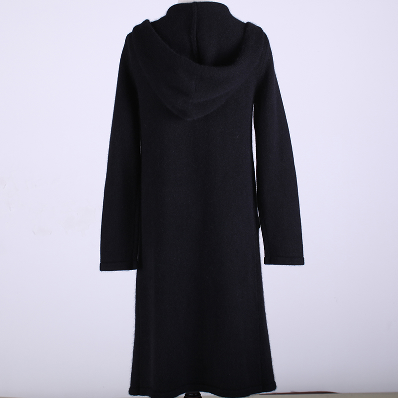 Casual Women Long Hooded Cardigan Thick Warm Cashmere Wool Knitted ...