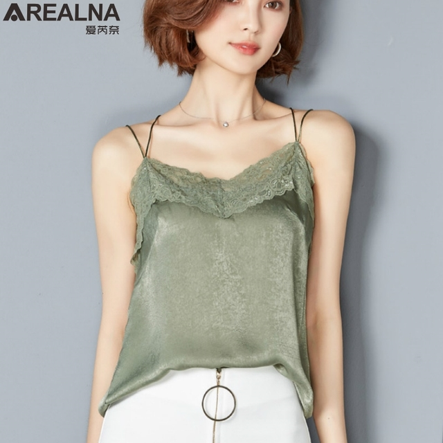79c7547759c2d AREALNA 2018 Summer Fall Tank Top Women Sexy Sleeveless Double shoulder  strap V Neck Silk Basic Tops Blusas Casual Vest Camisole