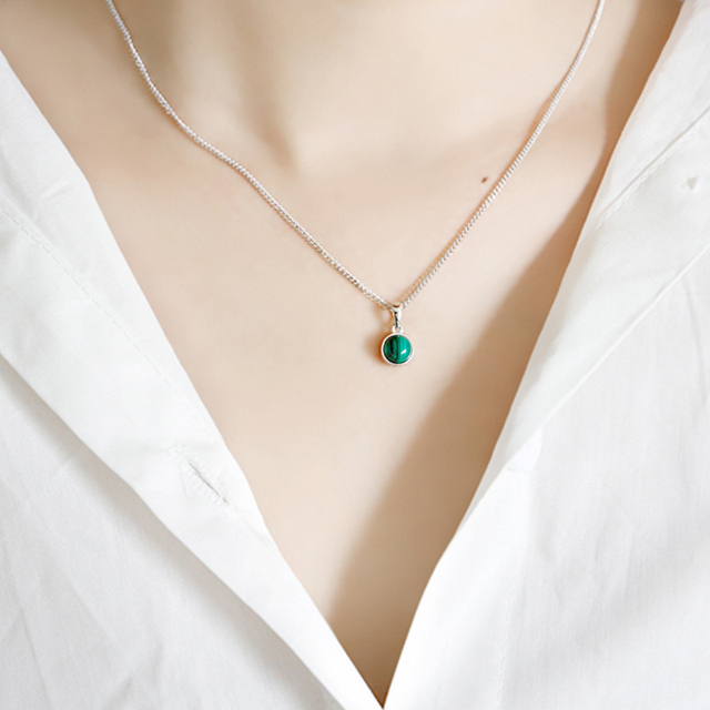 Hot Sale 100% 925 Sterling Silver Customizable Natural Malachite Labradorite Crystal Agate Opal Tigereye Gem Pendants Jewelry 4