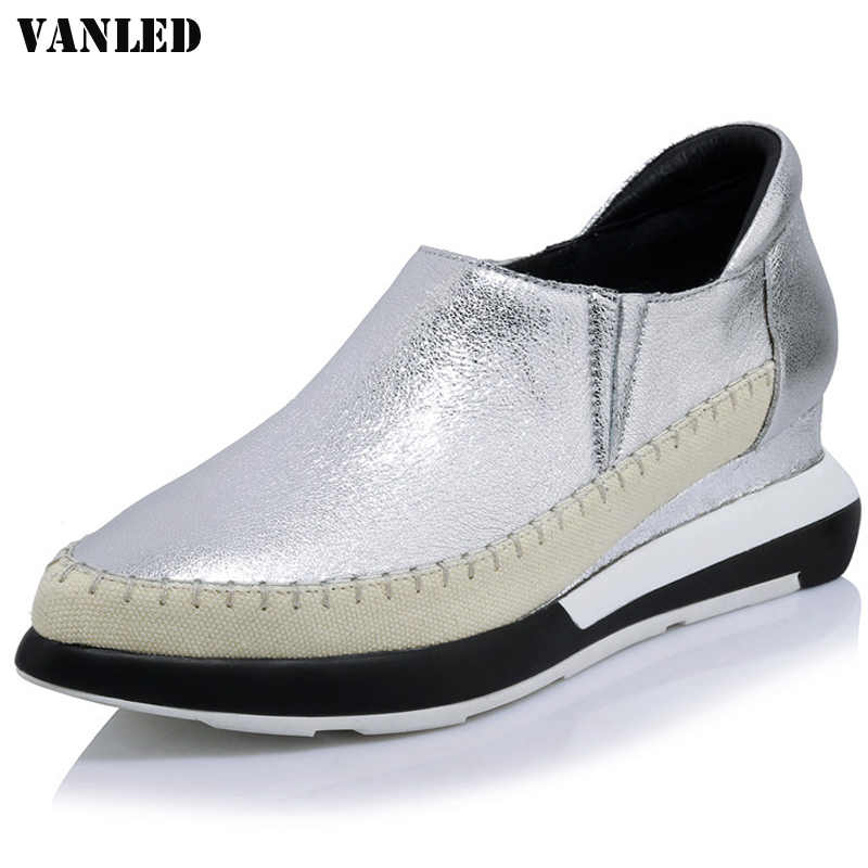 VANLED Wedges Genuine Leather Flats Fashion Women Brand Casual Flats Shallow Pointed Toe Casual Flat Shoes New Bling Loafers русска каша льняная 200 г