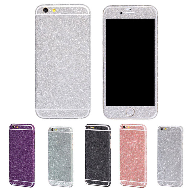New bling glitter matte front back cover sticker decal for iphone 6 6s plus 5 5