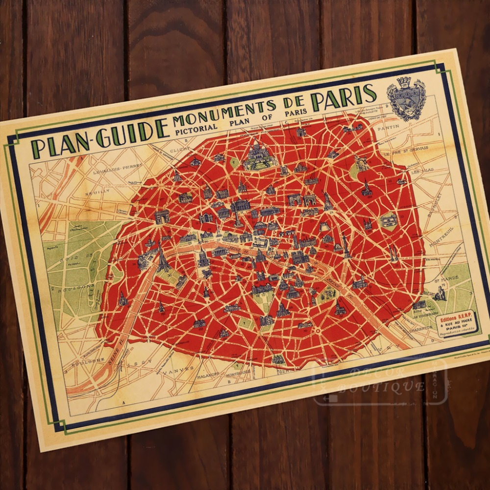 Plan Guide Monuments De <font><b>Paris</b></font> Map Classic Vintage Retro Kraft Decorative Poster Maps Wall Canvas Sticker Home Bar Posters DIY De image