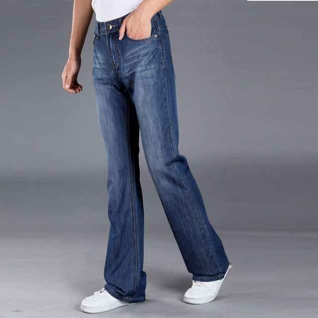 2ea9f493138 Mens Blue Flared Jeans Trousers Long Wide Leg Bell Bottom Jeans Plus Size  Flare Pants Bootcut