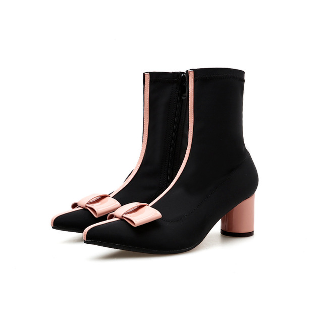 4bbe73d8c US $30.88 |Women Sweet Bow Knot Thick High Heel Ankle Boots Female Fashion  Slip On Pointed Toe Fall Winter Boots Black Pink Black 4295-in Ankle Boots  ...